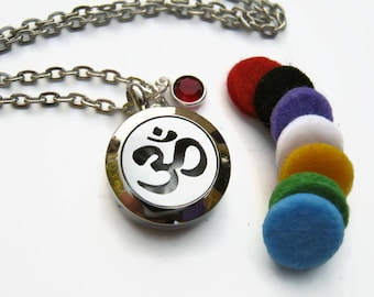 Om Mini Diffuser Necklace, Personalized Aromatherapy Necklace, Stainless Steel Essential Oil Diffuser Pendant,  Aum Birthstone Necklace