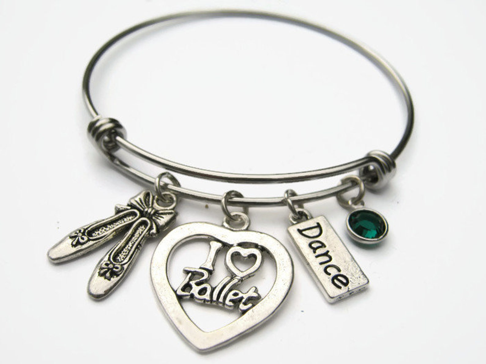 personalized i love ballet bracelet, expandable bangle bracelet, stainless steel bracelet, dance jewelry, ballet shoes, athletic
