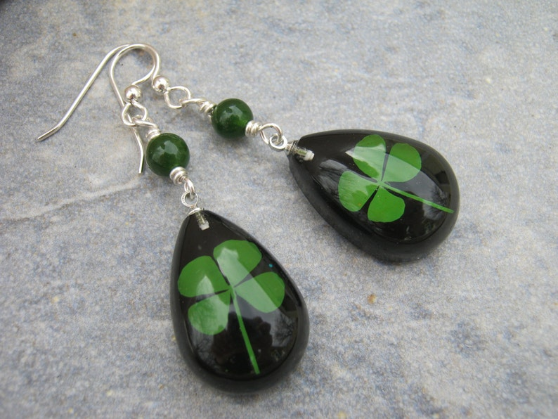0d844c6f692a1 Four Leaf Clover Earrings, Sterling Silver, REAL Pressed Clover Earrings,  Botanical Drop Jade Earrings, Black & Green, St Patricks Day
