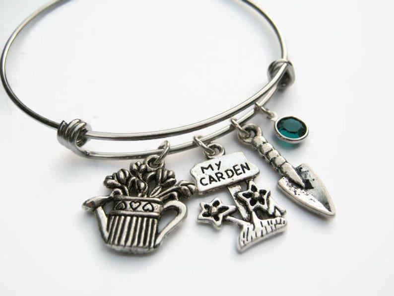 My Garden Jewelry Expandable Bangle Bracelet Stainless Steel Bracelet Personalized Gardener Bracelet Watering Can Charm Trowel