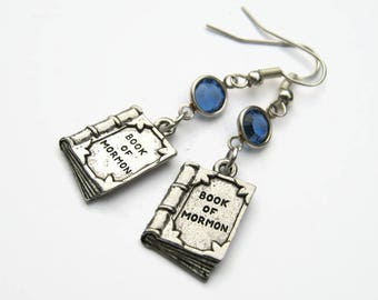 Book of Mormon Birthstone Earrings, Personalized LDS Earrings, Religious Jewelry, Church Gift, Holy Book Earrings, Mormon Jewelry