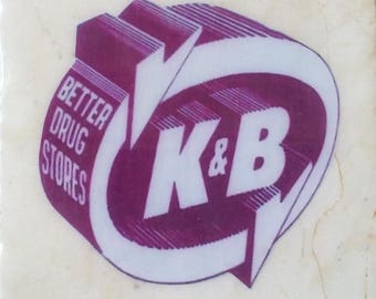 K and B Drug Store New Orleans Logo Coaster