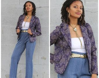 Vintage 80s purple floral brocade power blazer exceptional details XS/S/M