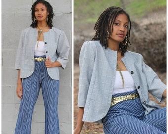 Vintage 80s puff sleeve secretary oversized jacket blazer bolero tunic top S/M/L