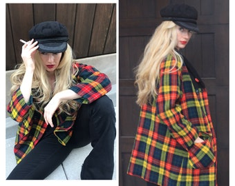 bd343c4b3743c2 Vintage 70s Plaid Coat Bohemian Rocker Hippie Chick S-M