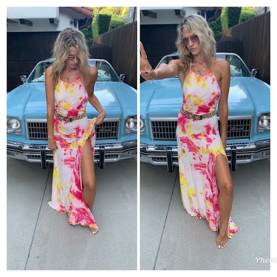 Tie Dyed open back slinky halter maxi dress S-M