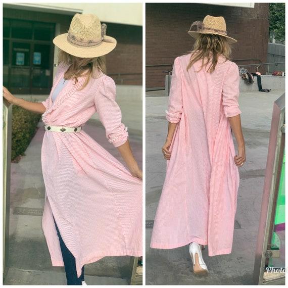 Vintage pink white Gingham maxi dress kimono duste