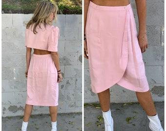 80s Upcycled pristine ballet pink 2 piece set suit crop blazer