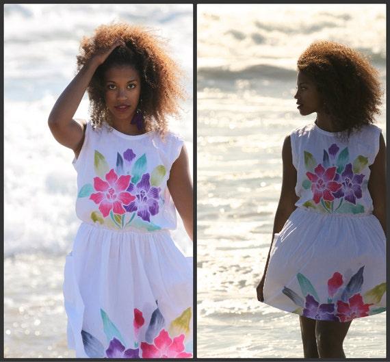 Vintage 80s Floral Beach dress-Mini dress Boho Hip