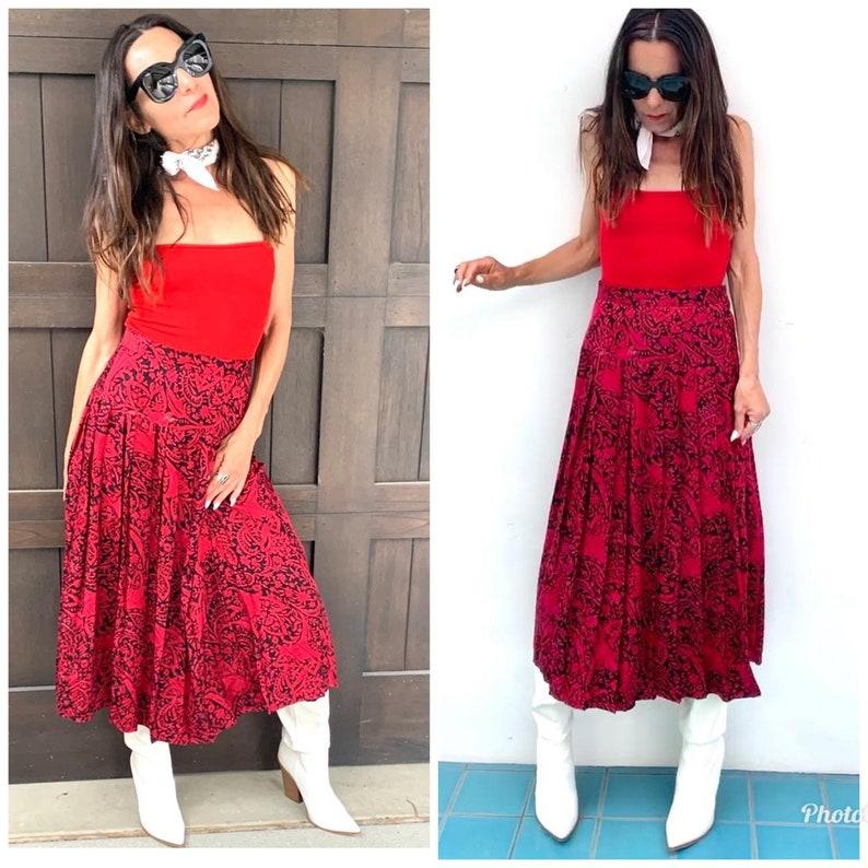 Silk Pleated 80s MIDI Skirt high waist S M