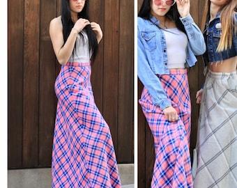 Vintage 70s Sweater Maxi Skirt Plaid High Waist Peasant Hippie Boho Pink Check XS S M