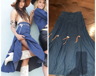 Vintage 70s Western wear Cowgirl skirt Concho Details Silver Denim Jeans Skirt XS S