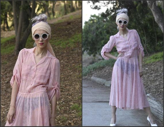 Vintage 80s Secretary Dress sheer floral Flirty  p