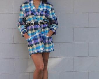 Vintage Oversize 80s Blazer Dress check print Jacket Purple Power blazer coat XS S M