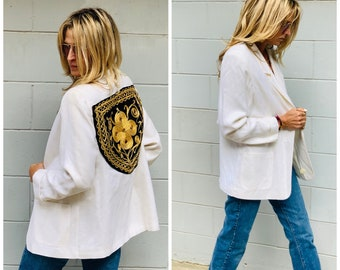 80s oversize Blazer Jacket patchwork