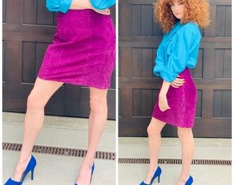 80s Purple Suede Mini Skirt high waist sexy S M