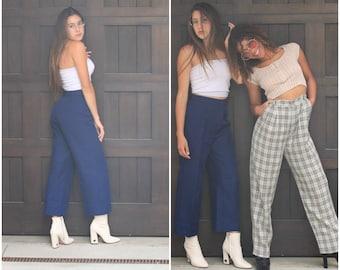 Vintage 80s navy High Waist Trousers Pants Culottes Crop Pant XS S