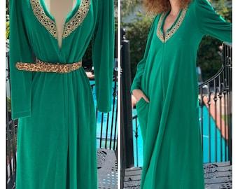70s Designer Velour Maxi Dress Lounger S M