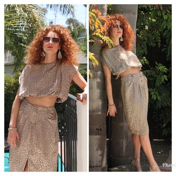80s metallic two piece set suit blouse skirt S M
