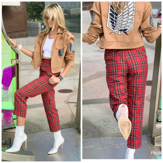 80s high waist TARTAN plaid Pants pockets xs s - image 4