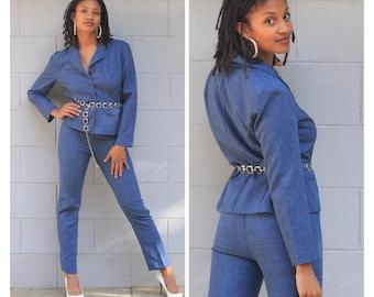 Vintage 80s 90s blue chambray pants suit blazer high waist pants trousers XS S M blue