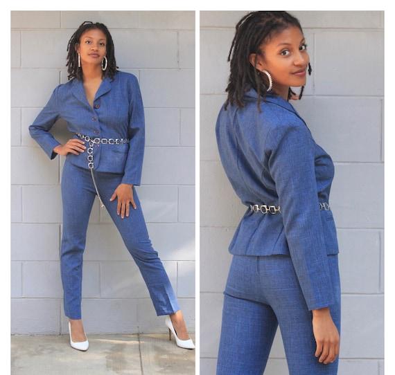 Vintage 80s 90s blue chambray pants suit blazer hi