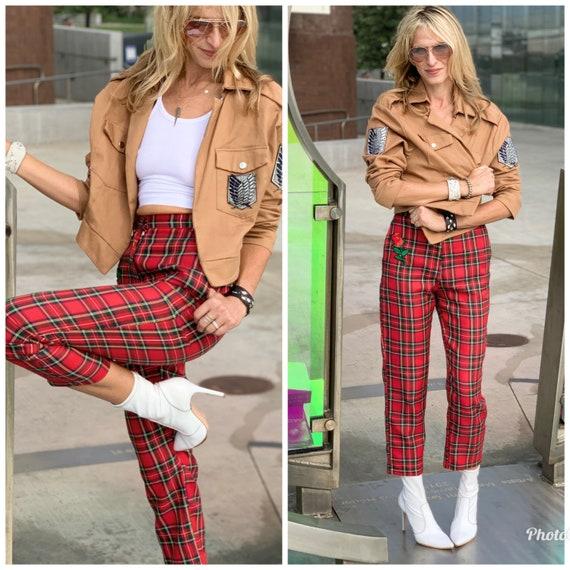 80s high waist TARTAN plaid Pants pockets xs s - image 8