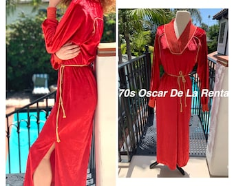 70s Oscar De La Renta red velour maxi dress loungewear s m
