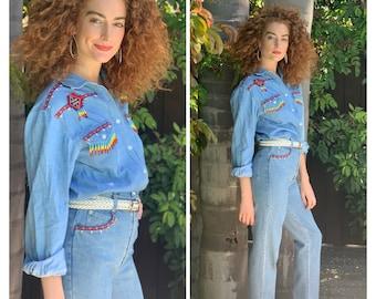 80s 2 piece set Mom Jeans & denim Top western beaded S