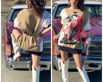 70s 80s oversize designer Sweater Dress graphic