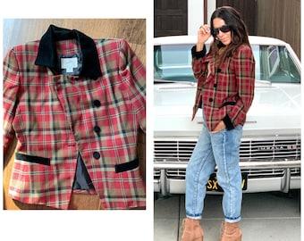 80s Plaid Tartan & Velvet checkered blazer Jacket S M