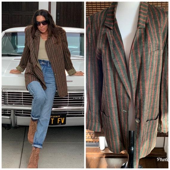 70s unisex oversize blazer jacket S M stripes