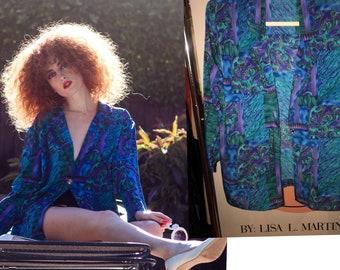 Vintage 80s Oversize Blazer Suit Dress Mini Dress Vibrant Print XS-S-M