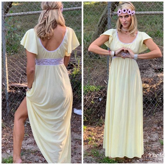 70s Butter Yellow Slipdress maxi goddess dress la… - image 2