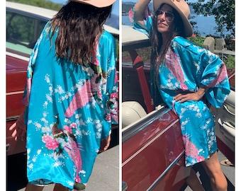 Vintage 80s turquoise peacock kimono S-M