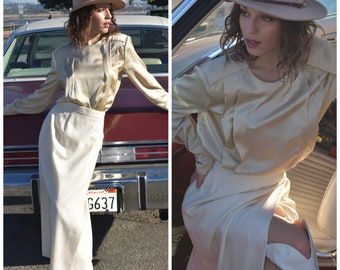 80s white high waist wrap skirt midi maxi S