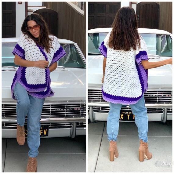 70s Godseye knit Crochet sweater cardigan Vest S M - image 5