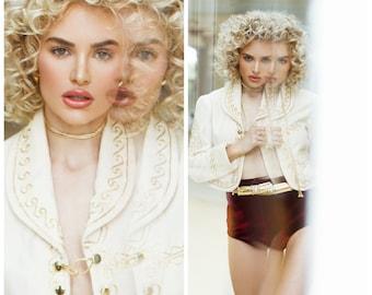Vintage 70s Crop Jacket Caplet Bolero Cream white &  Gold XS S M Cropped