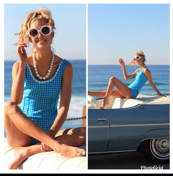 Vintage 60s 70s playsuit romper jumpsuit bathing s