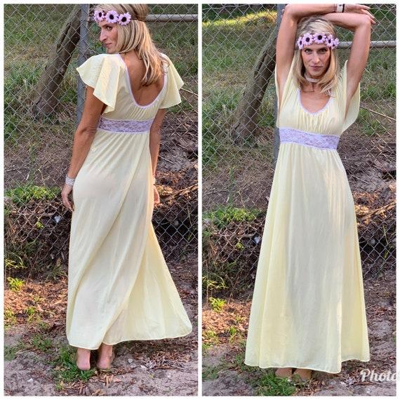 70s Butter Yellow Slipdress maxi goddess dress la… - image 1
