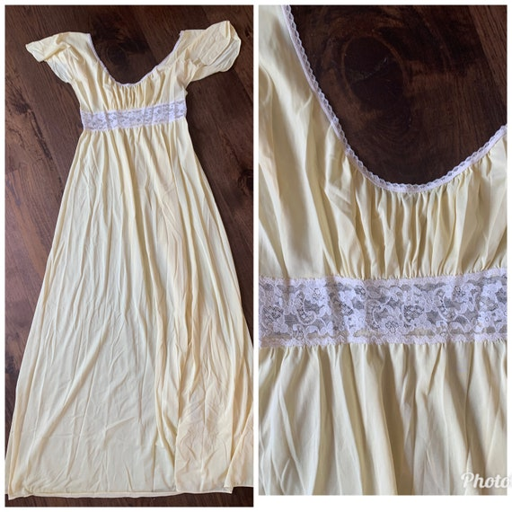 70s Butter Yellow Slipdress maxi goddess dress la… - image 4
