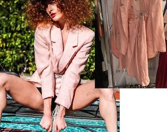 Vintage 70s Pink Blazer + Skirt Suit jacket Coat oversize. silk lined- S-M