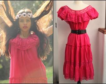 Vtg Vintage 70s Hippie Mexican Boho Dress Crochet Lace XS S M Festival dress