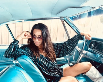 80s Metallic Striped Tunic Dress oversized shirt S M