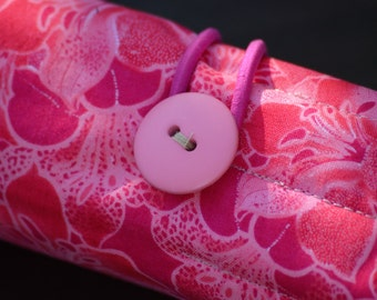 Pink Floral Pen or Pencil Roll