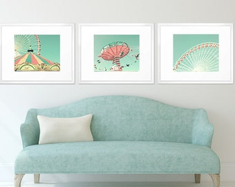 Girl nursery wall art girl nursery decor girl, print set, nursery prints, mint nursery decor, coral nursery decor, turquoise