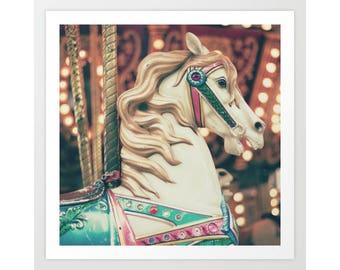 Nursery wall art, carousel horse, nursery decor, nursery prints, carnival photography, wall art canvas, canvas art, large wall art