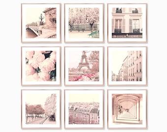 Paris prints Paris wall art prints Gallery wall set blush pink wall art Paris photography prints gallery wall prints France Cherry blossom