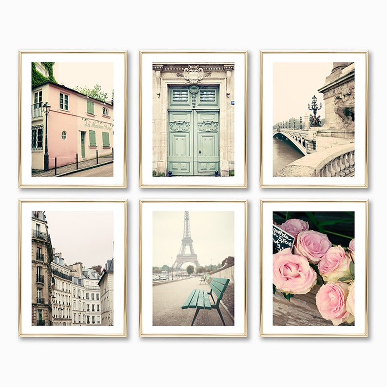 Paris Pastel travel gallery wall art set perfect gift ideas for mother's day.