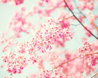 Cherry blossom art, extra large wall art, wall art canvas, canvas art, girl room decor, framed wall art, pink wall art, white wall art
